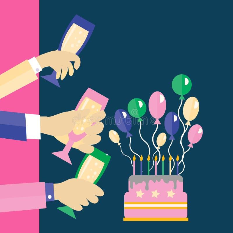 Карточка приглашения для торжества и партии именниный пирог воздушных шаров афроамериканца красивейший празднует время партии дом иллюстрация вектора