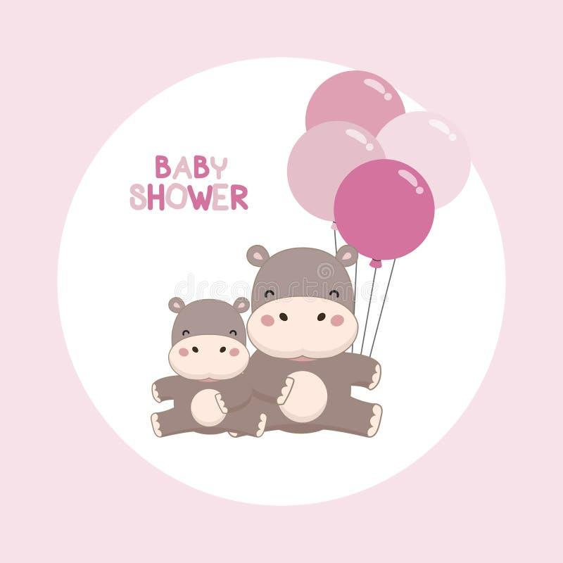 Карточка приглашения ливня младенца Милый бегемот с мультфильмом воздушных шаров бесплатная иллюстрация