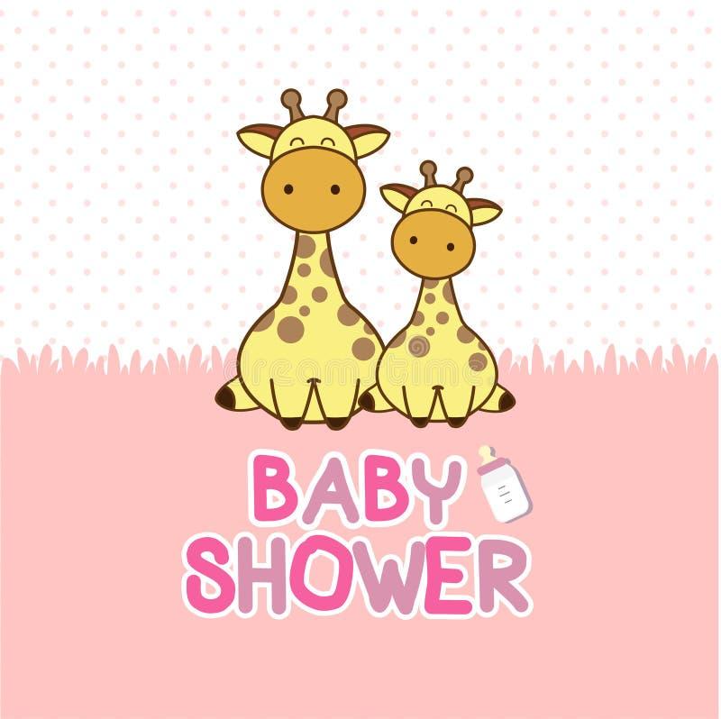 Карточка приглашения ливня младенца Мультфильм жирафа младенца бесплатная иллюстрация