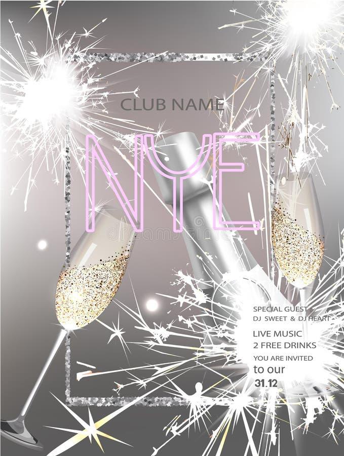 Карточка приглашения партии кануна Нового Годаа с бутылкой вина, бенгальских огней стекел и рамки иллюстрация штока
