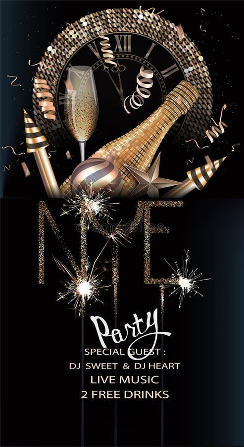Карточка приглашения партии кануна Нового Годаа с рождеством золота возражает и сверкнает бесплатная иллюстрация