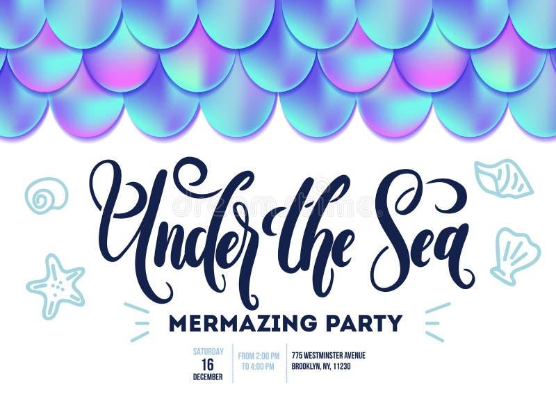 Карточка приглашения партии русалки с розовыми seashell и письмом gols бесплатная иллюстрация