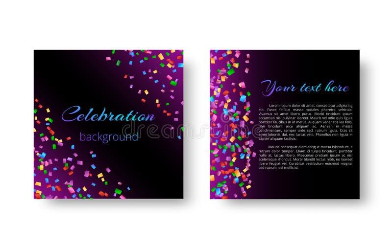 Карточка приглашения рождества с confetti иллюстрация вектора