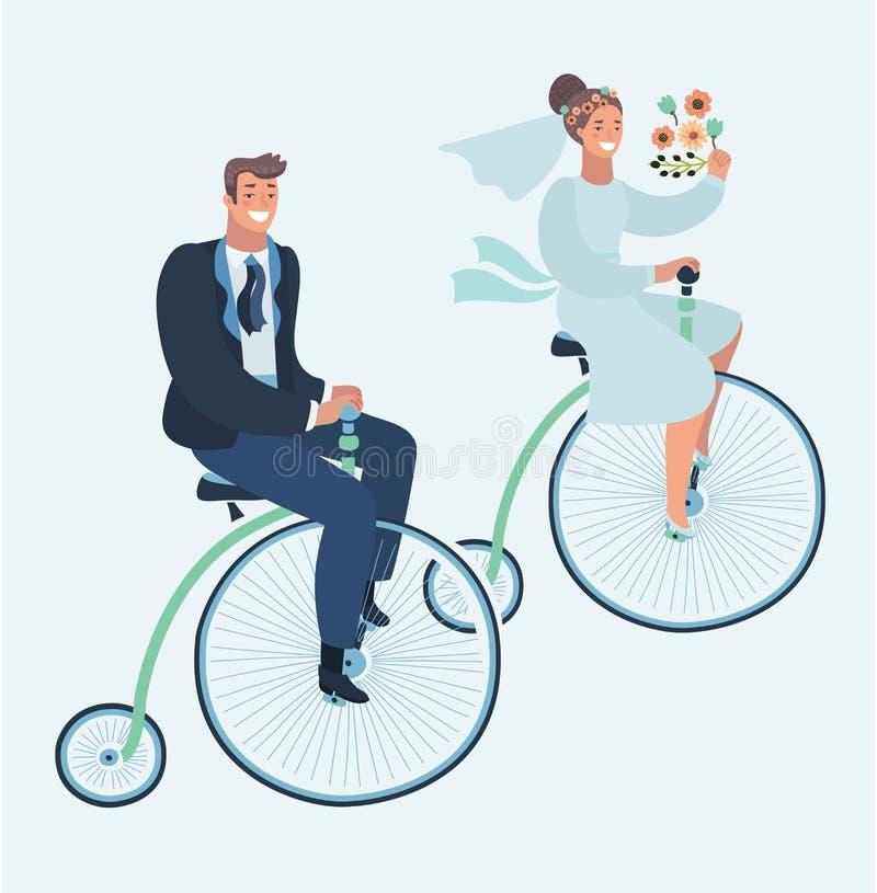 Карточка приглашения свадьбы с парами на велосипеде иллюстрация вектора
