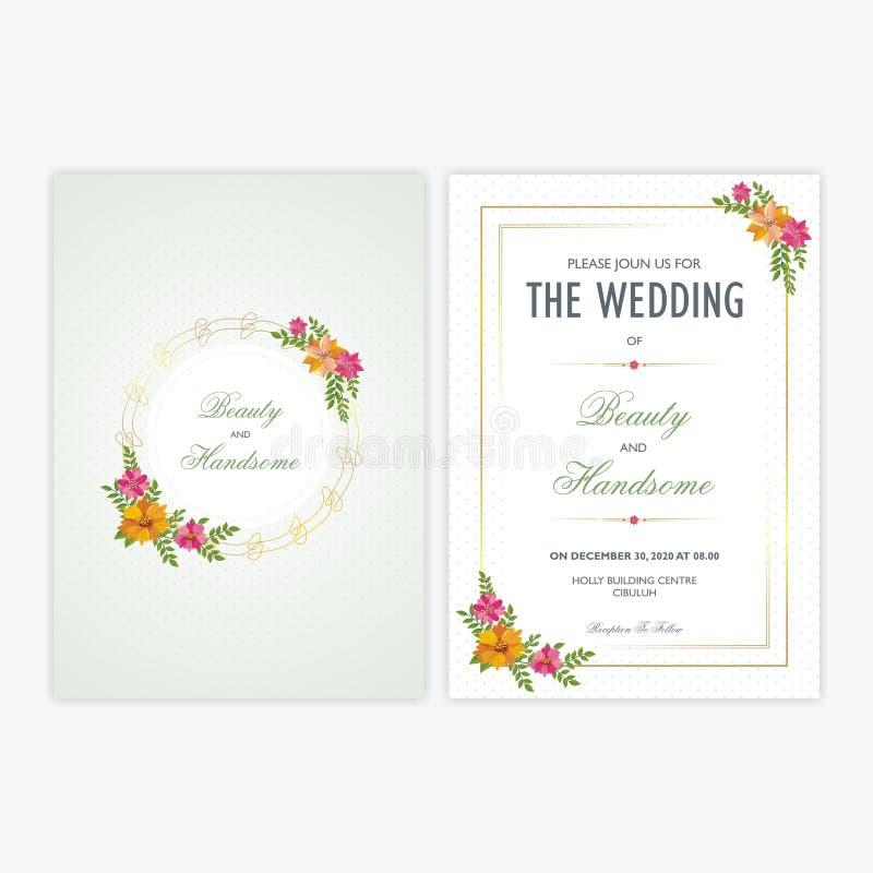 Карточка приглашения свадьбы с флористическими орнаментами иллюстрация вектора