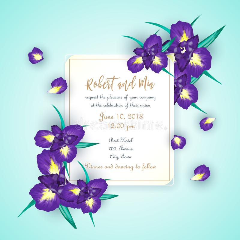 Карточка приглашения свадьбы цветка радужки иллюстрация штока