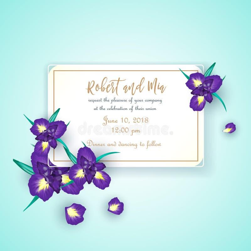 Карточка приглашения свадьбы цветка радужки иллюстрация вектора