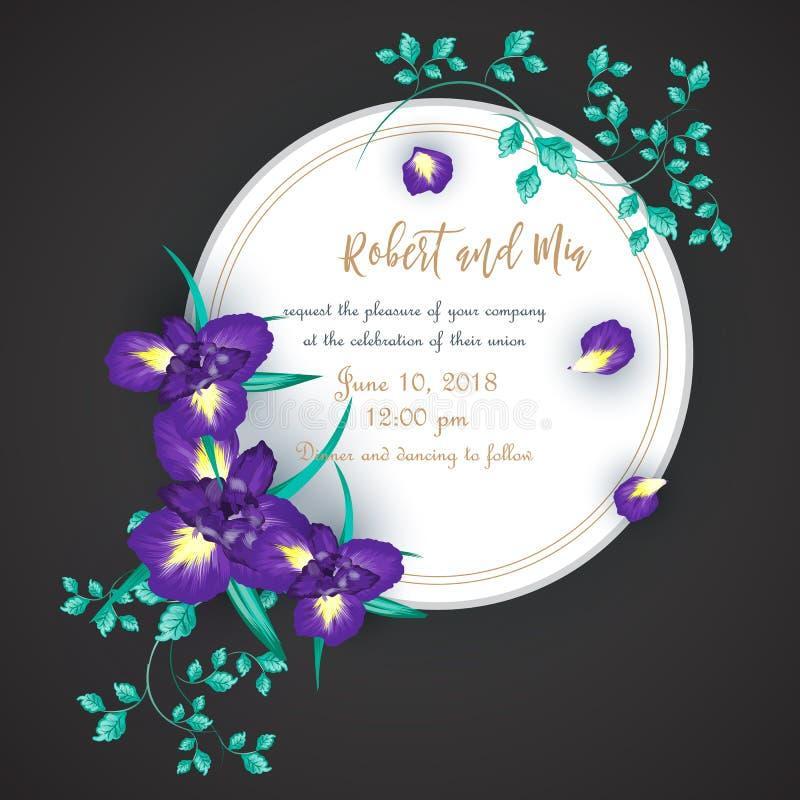 Карточка приглашения свадьбы цветка радужки бесплатная иллюстрация
