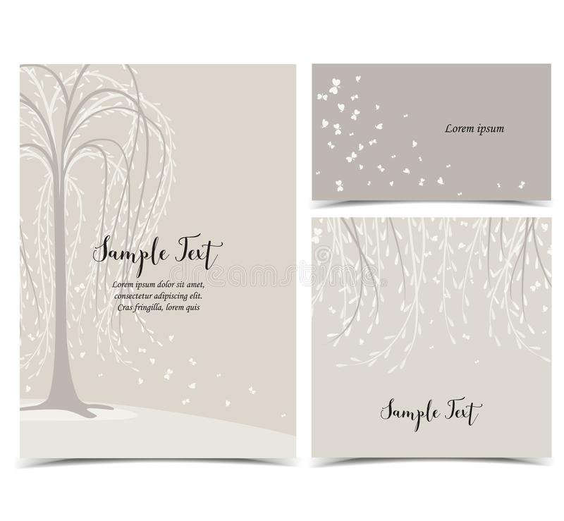 Карточка приглашения с деревом бесплатная иллюстрация