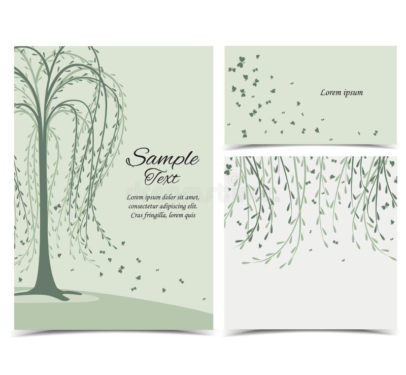 Карточка приглашения с деревом иллюстрация вектора