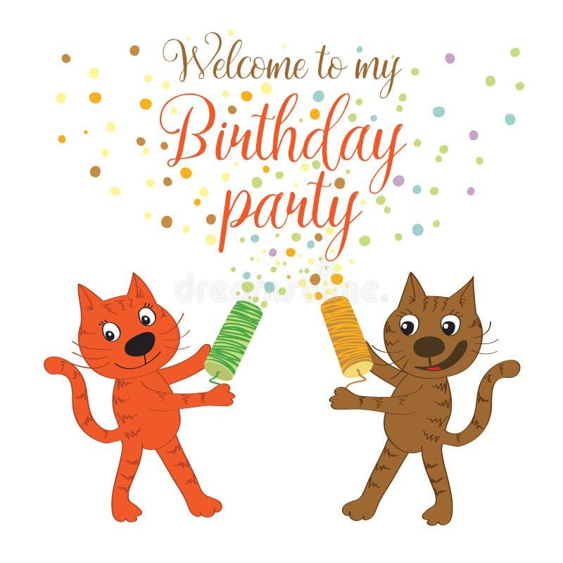 Карточка приглашения с котами Добро пожаловать к моей вечеринке по случаю дня рождения иллюстрация вектора