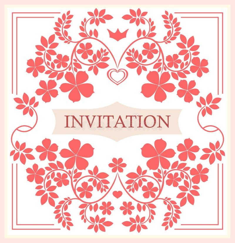 Карточка приглашения с флористическими орнаментами бесплатная иллюстрация