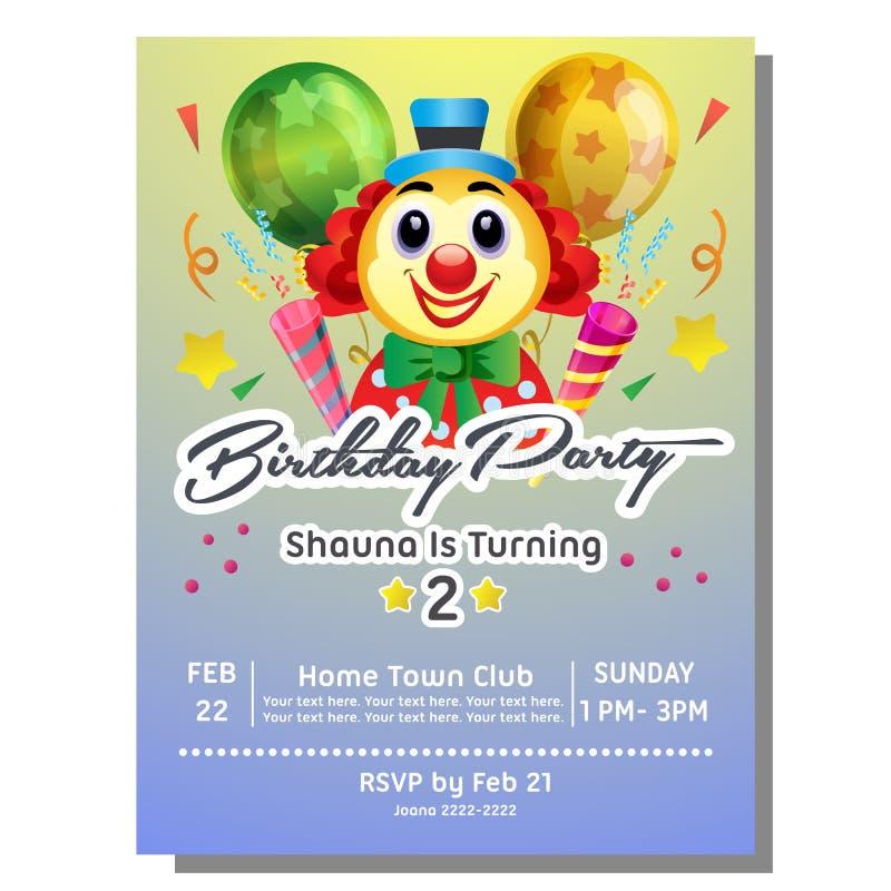 Карточка приглашения торжества дня рождения с клоуном иллюстрация вектора