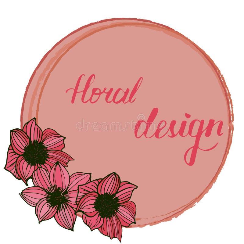 Карточка приглашения флористическая с элементами флористического дизайна бесплатная иллюстрация