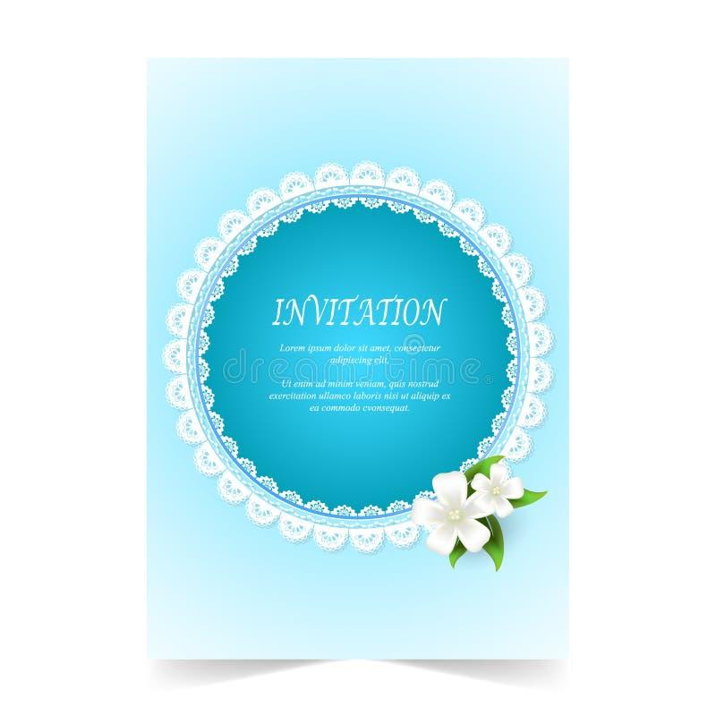 Карточка приглашения, ornamental шнурка карточки свадьбы с белым букетом иллюстрация вектора