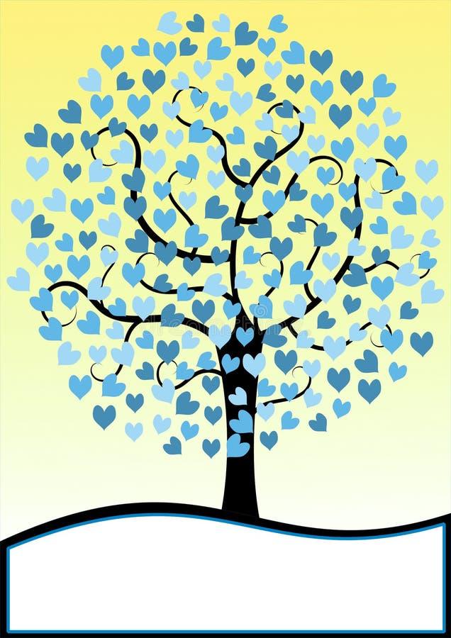 Карточка приглашения дерева сердец бесплатная иллюстрация