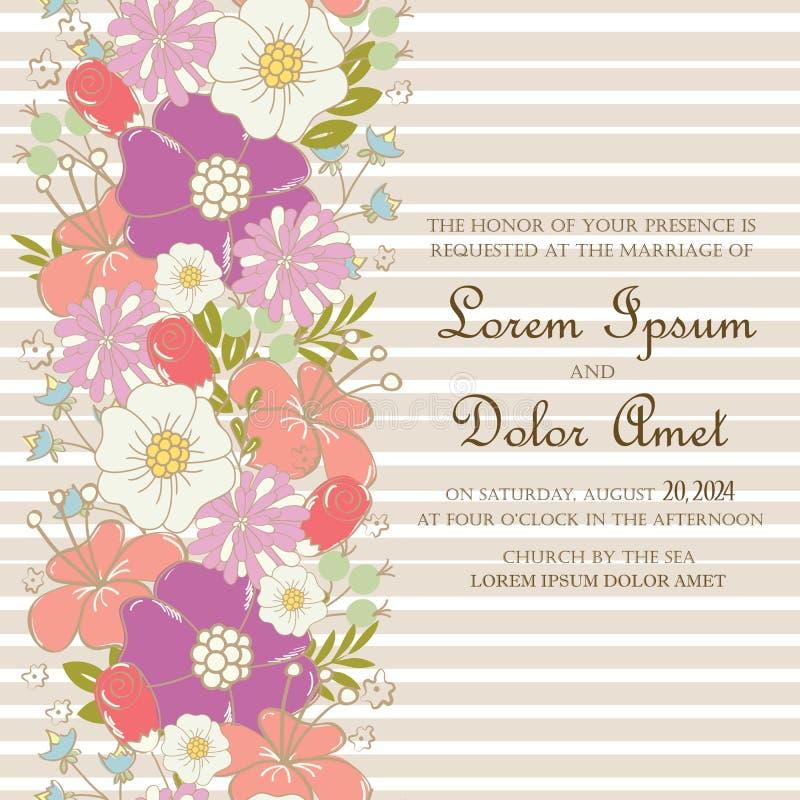 Карточка приглашения или объявления свадьбы при красивая нарисованная рука цветет иллюстрация штока