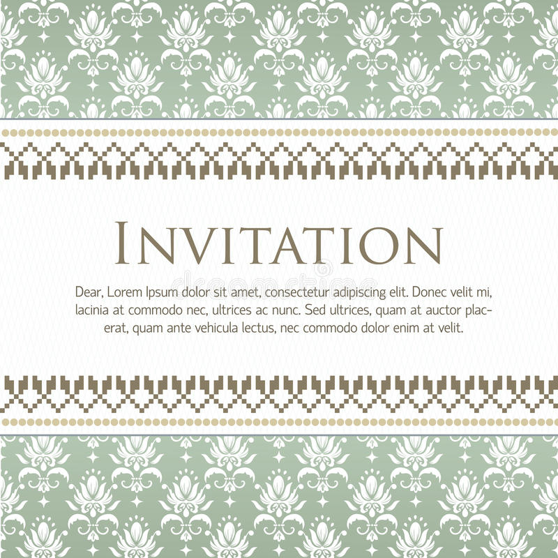Карточка приглашения и объявления свадьбы с винтажным художественным произведением предпосылки иллюстрация вектора