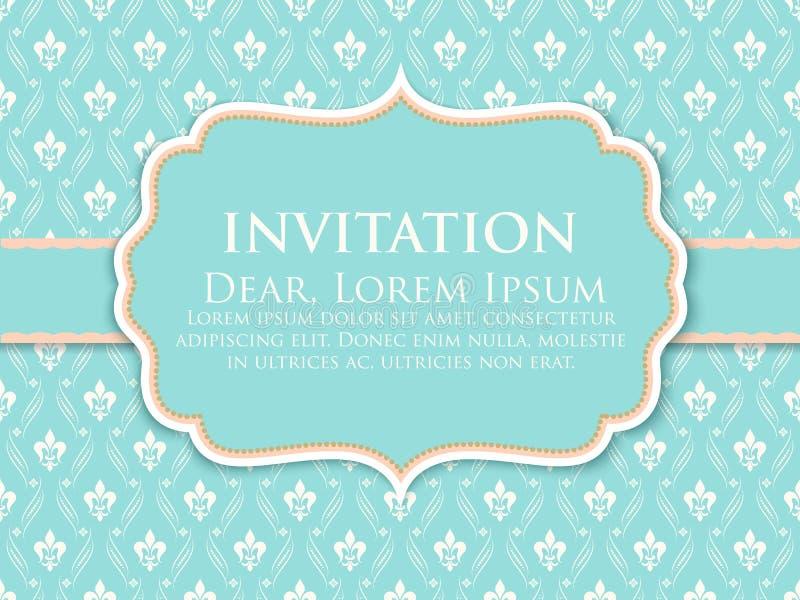 Карточка приглашения и объявления свадьбы с винтажным художественным произведением предпосылки Элегантная богато украшенная предп бесплатная иллюстрация