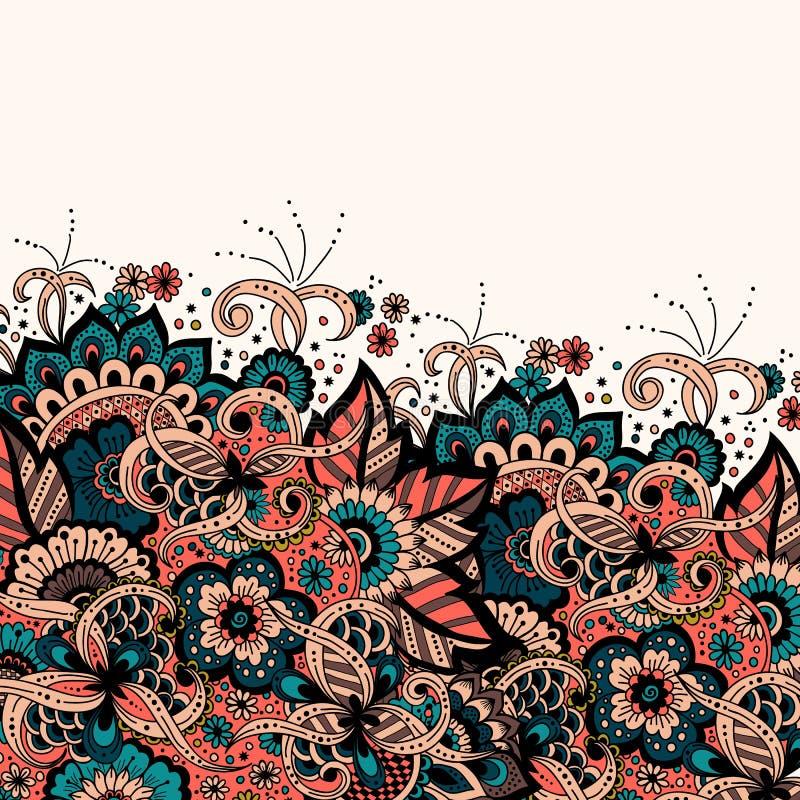 Карточка приглашения и объявления свадьбы с орнаментом в аравийском стиле Картина арабескы Восточный этнический орнамент иллюстрация вектора