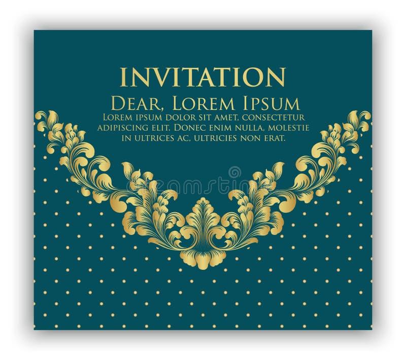 Карточка приглашения и объявления свадьбы с флористическим художественным произведением предпосылки Элегантная богато украшенная  бесплатная иллюстрация