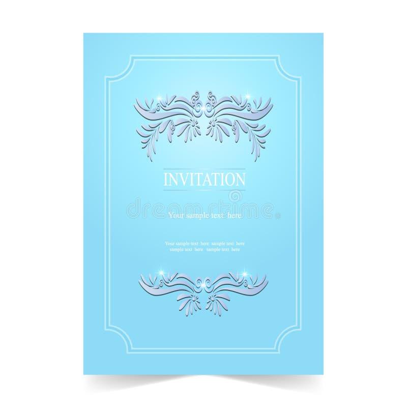 Download Карточка приглашения, карточка свадьбы на голубой предпосылке Иллюстрация вектора - иллюстрации насчитывающей ретро, представление: 81813917