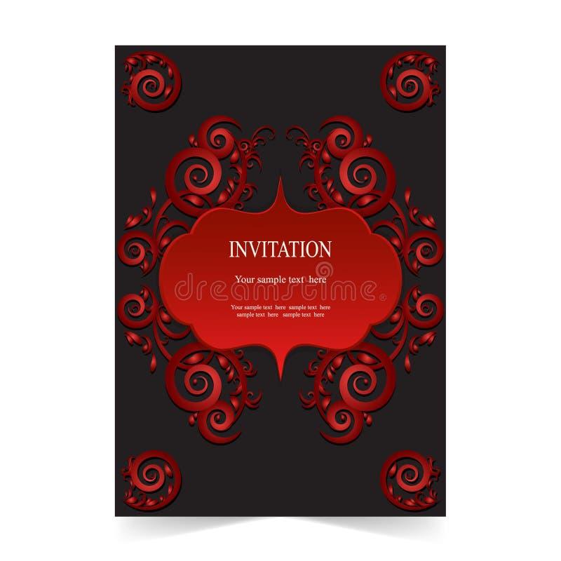 Download Карточка приглашения, карточка свадьбы на темной предпосылке Иллюстрация вектора - иллюстрации насчитывающей орнаментально, морокканско: 81813972