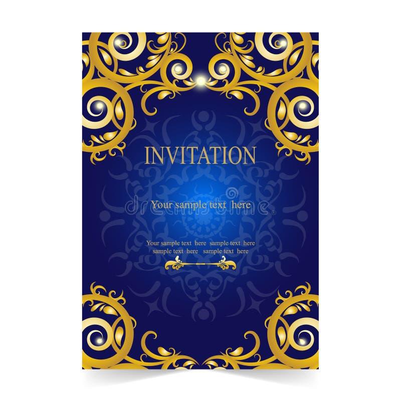 Download Карточка приглашения, карточка свадьбы с голубой предпосылкой Иллюстрация вектора - иллюстрации насчитывающей картина, приглашение: 81814163