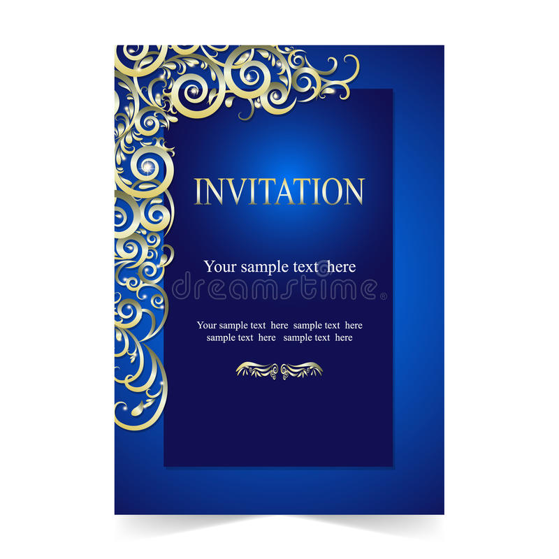 Карточка приглашения, карточка свадьбы с ornamental на голубой предпосылке иллюстрация вектора