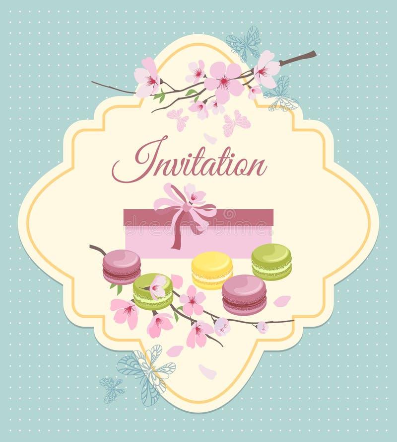 Карточка приглашения к чаепитию с цветками и иллюстрация вектора
