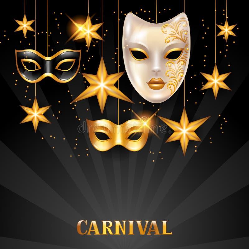 Карточка приглашения масленицы с золотыми масками и звездами Предпосылка партии торжества иллюстрация вектора