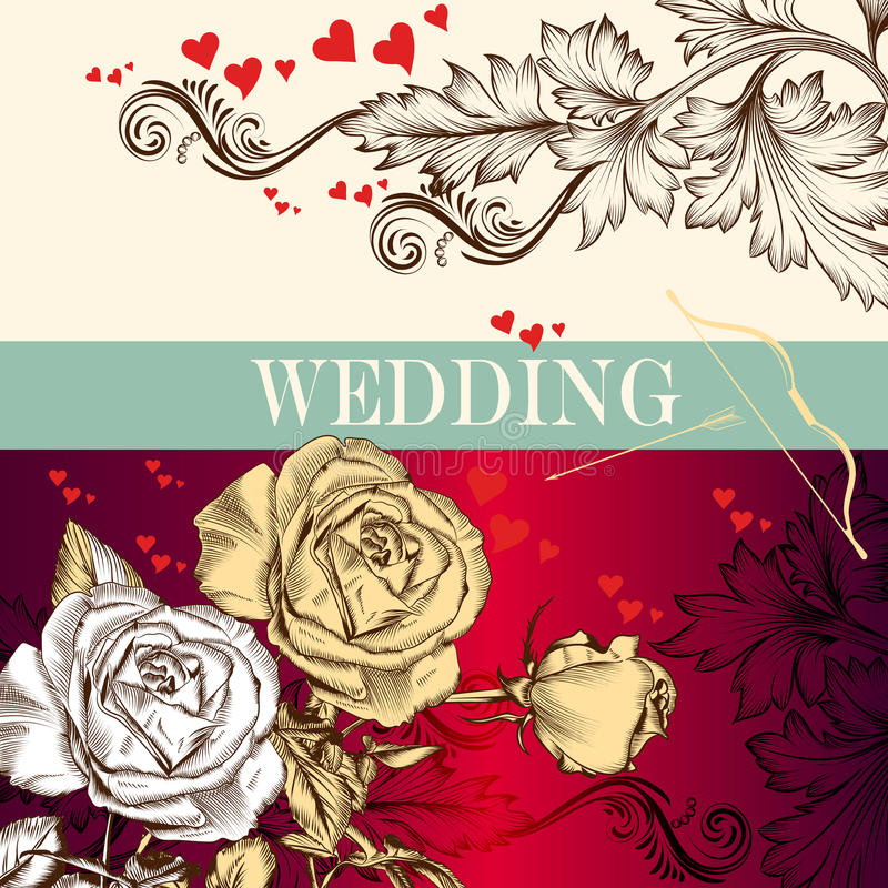 Карточка приглашения дня валентинки свадьбы с розами и сердцами бесплатная иллюстрация