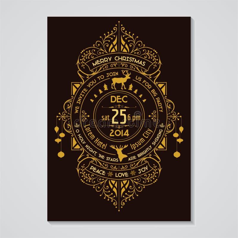 Карточка приглашения рождества иллюстрация штока