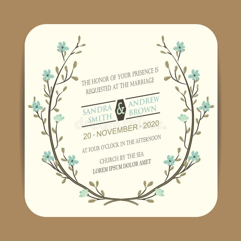Карточка приглашения свадьбы винтажная бесплатная иллюстрация