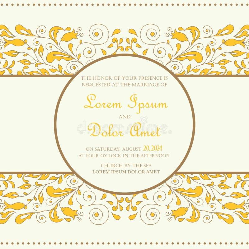 Карточка приглашения свадьбы винтажная иллюстрация штока