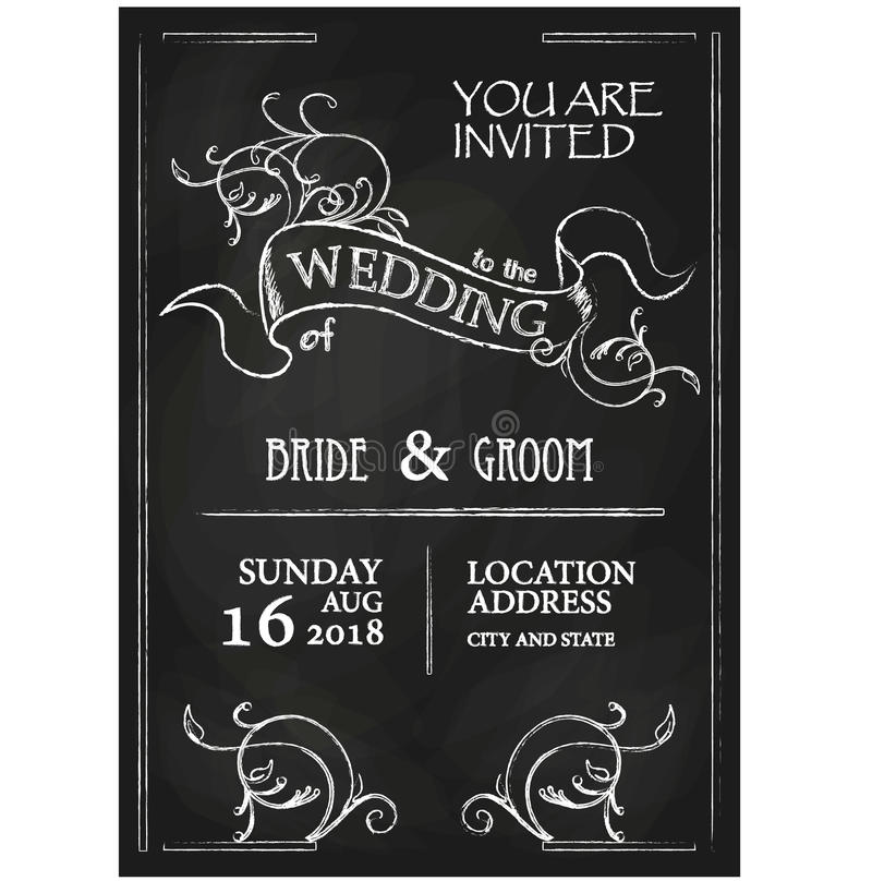 Карточка приглашения свадьбы стиля доски винтажная иллюстрация вектора