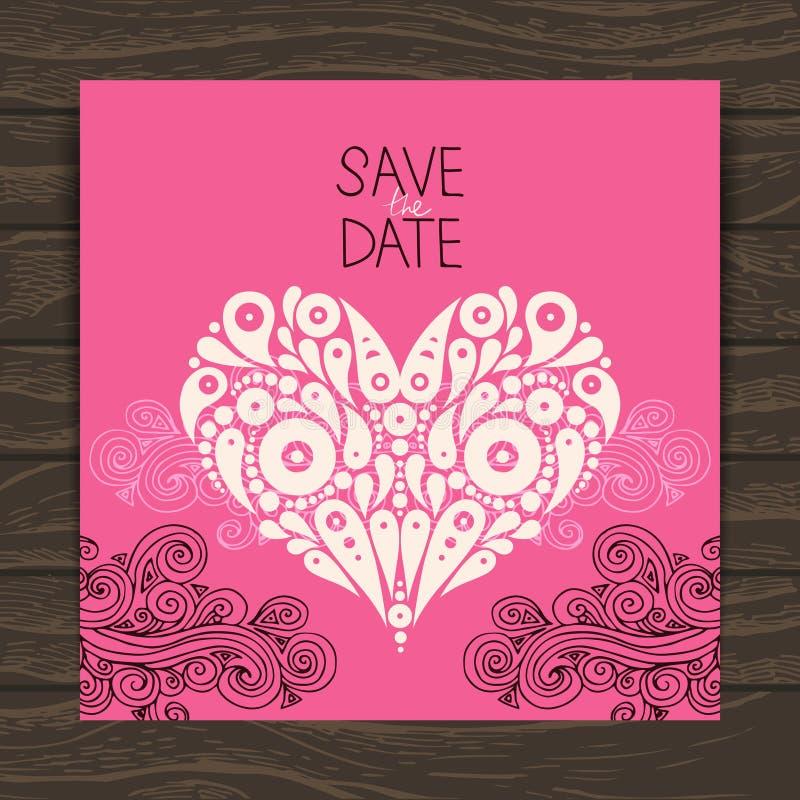 Карточка приглашения свадьбы с декоративное стильным иллюстрация штока
