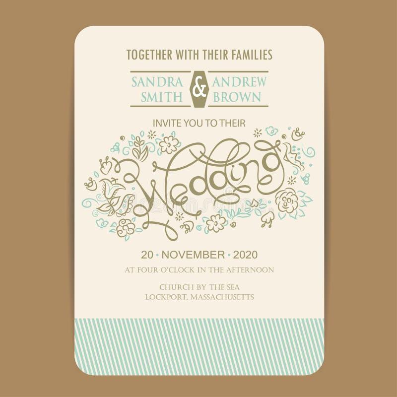 Карточка приглашения свадьбы с цветками нарисованными рукой иллюстрация штока