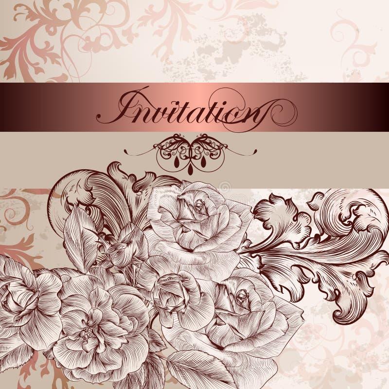 Карточка приглашения свадьбы с цветками для дизайна иллюстрация вектора