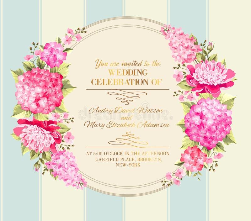Карточка приглашения свадьбы цветков цвета вектор иллюстрация вектора