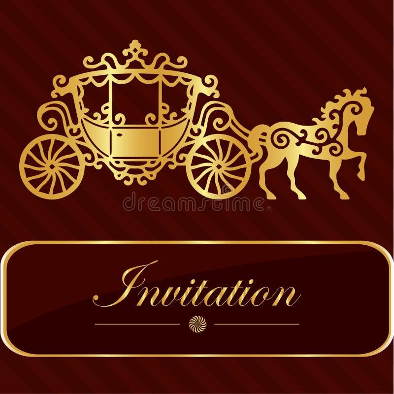 Карточка приглашения с золотой литерностью Винтажный дизайн экипажа лошади Хорошая идея для шаблона, карточки свадьбы, ретро стил иллюстрация штока