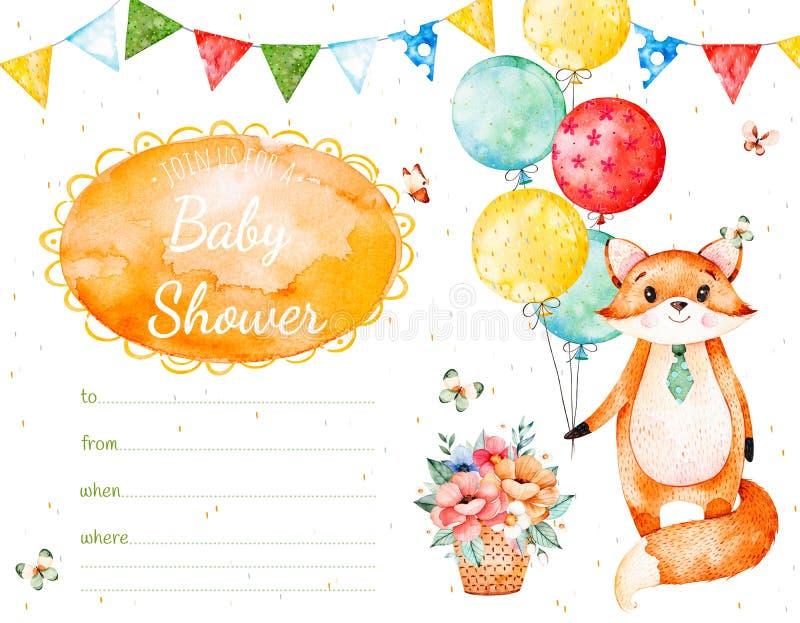 карточка приглашения с милой лисой, гирляндами, пестротканые воздушные шары, иллюстрация вектора
