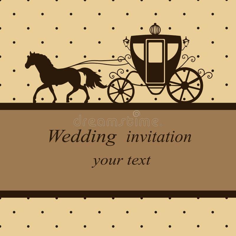 Карточка приглашения с экипажом иллюстрация вектора
