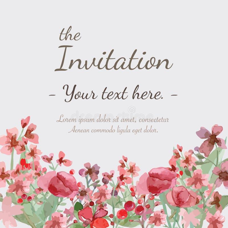 Карточка приглашения цветка иллюстрация штока