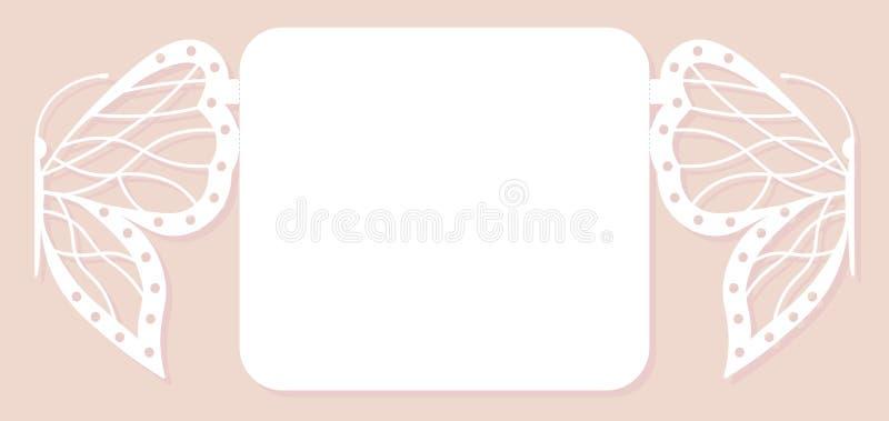 Карточка приглашения, wedding украшение, элемент дизайна Элегантный отрезок лазера бабочки также вектор иллюстрации притяжки core иллюстрация штока