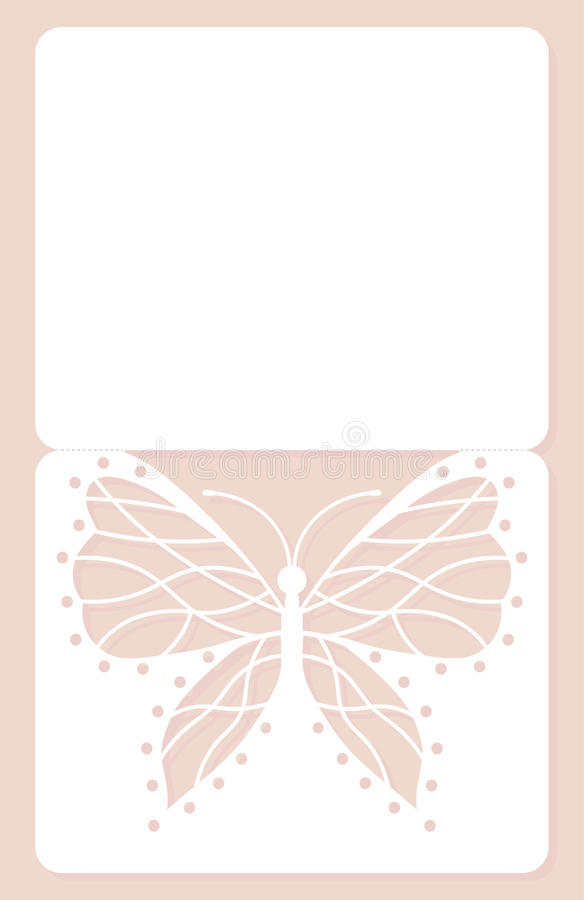 Карточка приглашения, wedding украшение, элемент дизайна Элегантный отрезок лазера бабочки также вектор иллюстрации притяжки core иллюстрация вектора