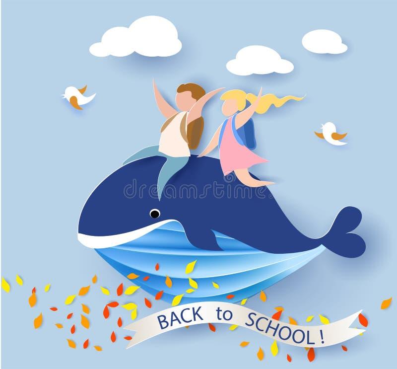 Карточка при дети сидя на летании кита на голубом небе иллюстрация штока
