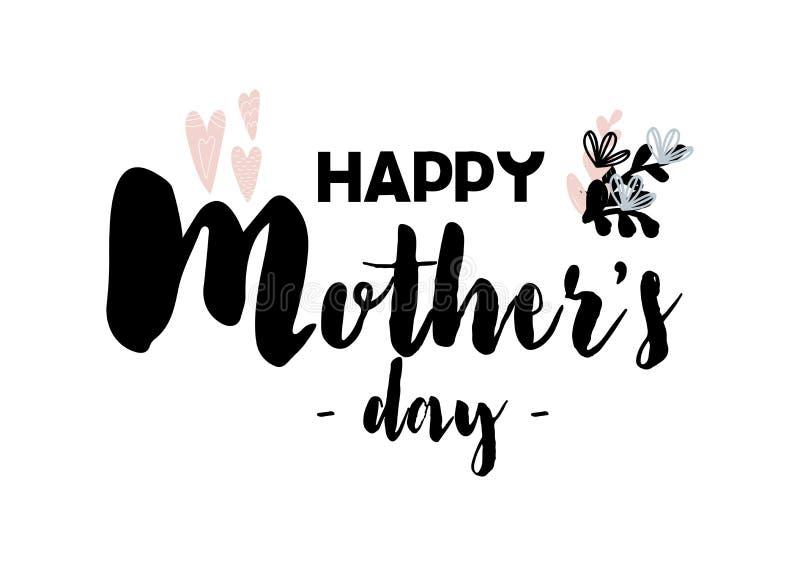 Карточка при каллиграфия помечая буквами счастливый день матерей Иллюстрация вектора в скандинаве иллюстрация штока