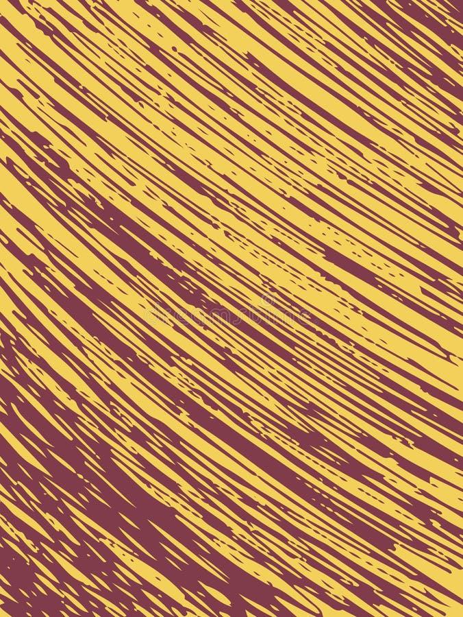 Карточка при нашивки сделанные щеткой и чернилами Текстура для предпосылки Красные случайные нашивки на желтой предпосылке вычерч иллюстрация штока