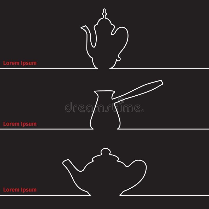 Карточка рекламы с силуэтом бака чайника и кофе бесплатная иллюстрация